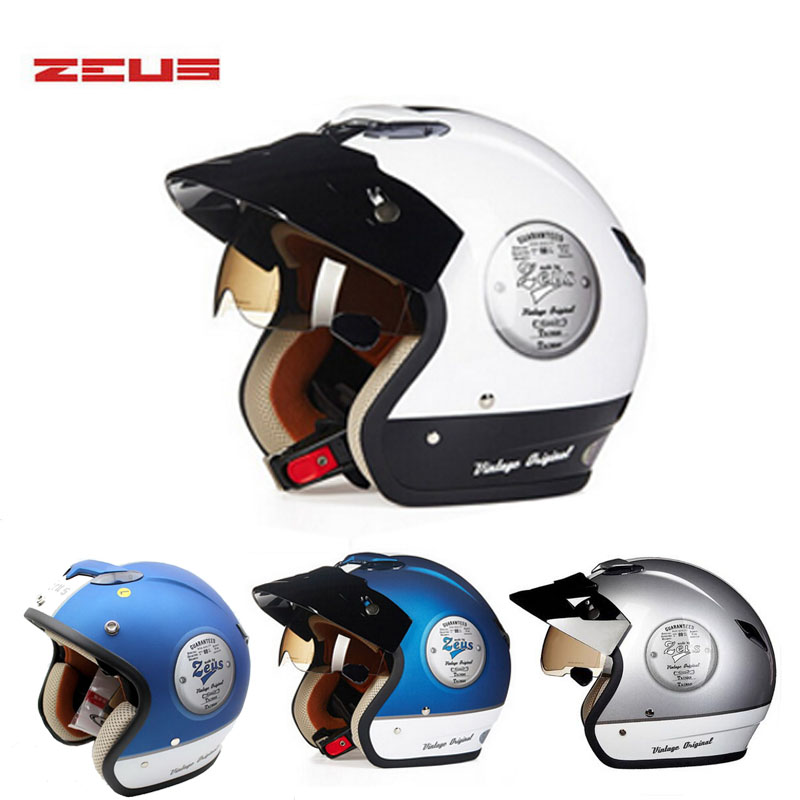 brand DOT ZEUS  ZS-381c Vintage motocross motorcycle helmet with Lining unpick and wash, open face motorbike helmets 1000m motorcycle helmet intercom bt s2 waterproof for wired wireless helmet