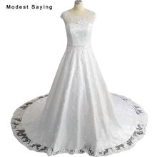 New Collection 2018 White A-Line Cap Sleeves Lace Wedding Dresses Formal Women Beaded Plus Size Bridal Gowns vestido de noiva