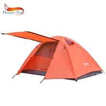 Desert&Fox 2-3 People Camping Tent, Aluminum Poles Outdoor Travel Double Layer Waterproof Windproof Lightweight Backpacking Tent black hawk extreme super light weight only 870 grams of double layers 1 2 people mountain lightweight gauze tent