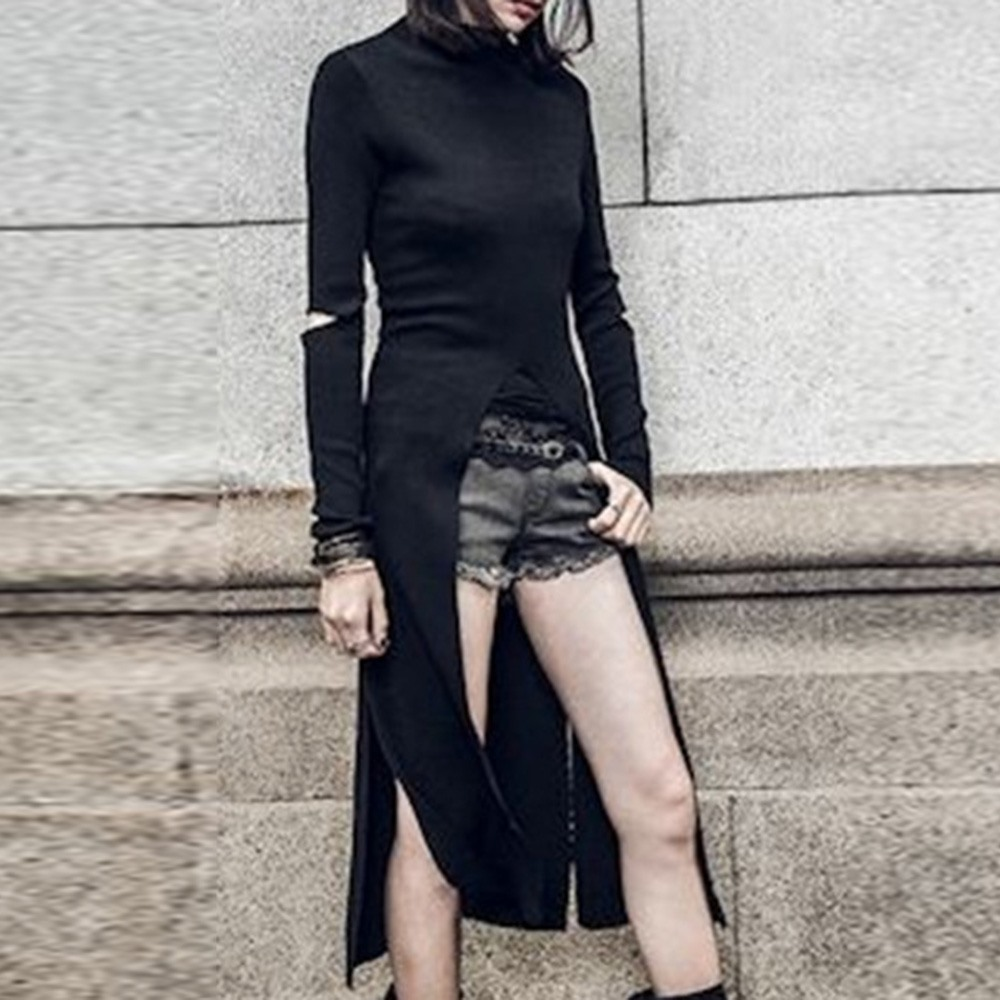 Rosetic Gothic Black Chic Office Lady Women Long T-shirts Slim Plain Casual High Street Girls Sexy Split Female Tops Dark Tops