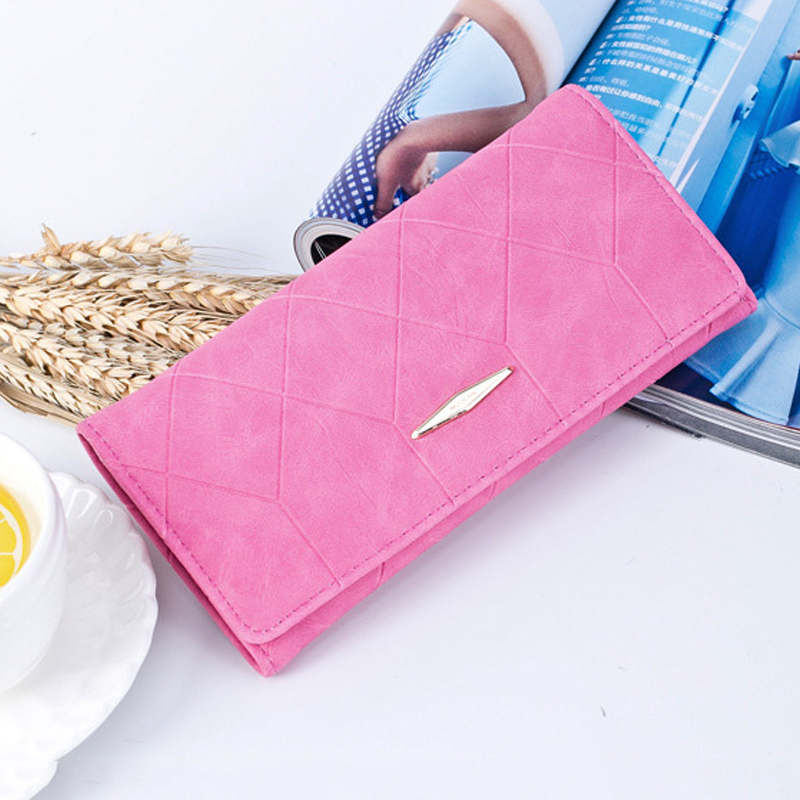 Women's Long Wallet Multi-function Ultra-thin Wallet Ladies Magnetic Buckle Wallet Card Package Solid Color PU Leather