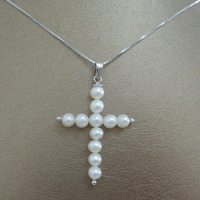 100% nature freshwater AAA pearl pendant necklace with 925 silver chain cross shape near round pearl shape