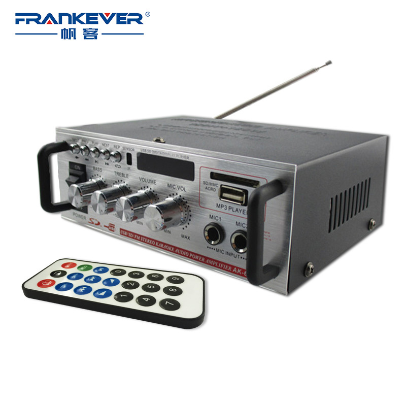 Frankever Hi-Fi USB Car Audio Stereo Amplifier Motorcycle Car Boat MP3 MP4 CD Mini Digital Power Subwoofer Amplifiers AK-668D