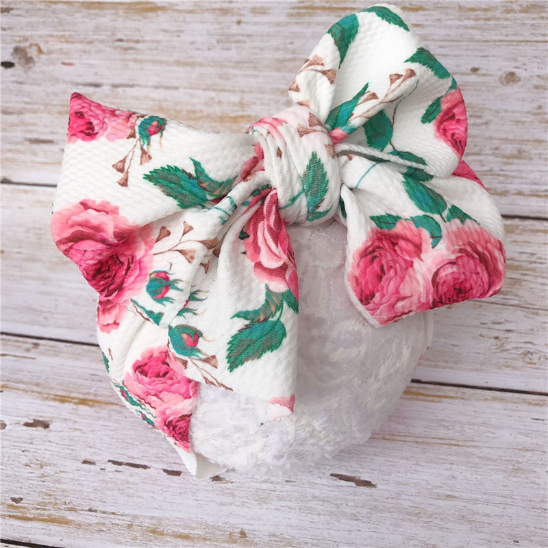 2019 Baby Headbands Big Bowknot Printed Infant Girls