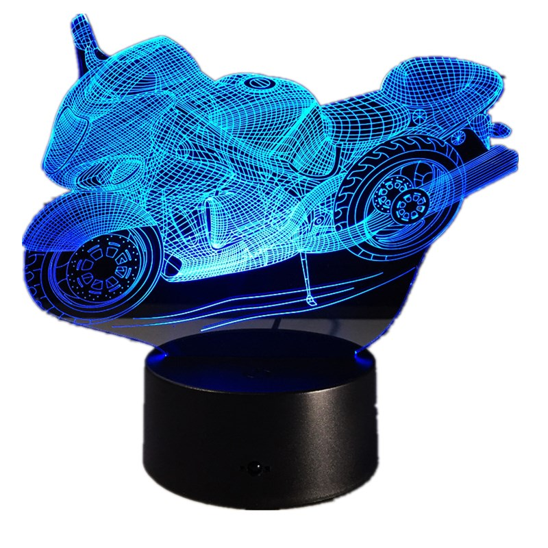 Motorcycle 3D Table Lamp Led Decorative Lampara Plexiglas Plate Lumineuse Bedside Nightlight Colores Bulbing Lamp For Motor Fan
