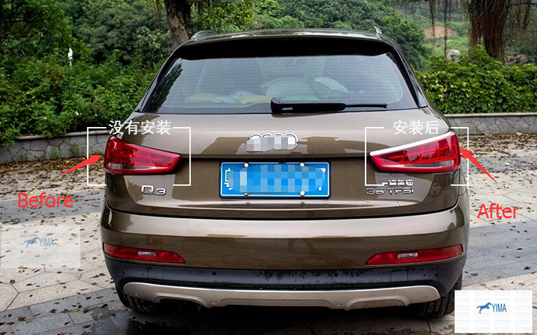 ФОТО High quality!Rear Taillight Lamp Eyebrow Cover And Chrome Rear Window Trims Spoiler Side Cover For audi Q3 2011-2013
