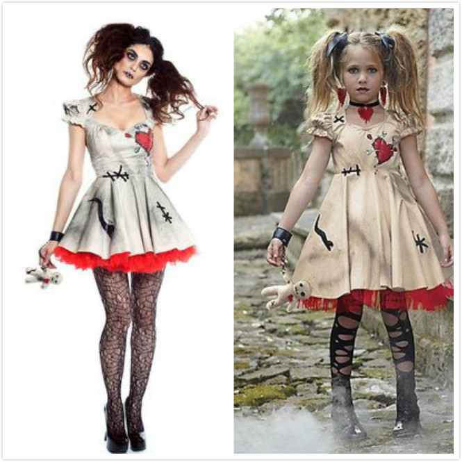 Vampire Cosplay Girls Halloween Costume for Adults Kids Wedding Ghost Bride  Flower Girl Witch Costume Voodoo Doll Disfraz 08b358b18deb