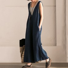 2019 Women Wide Leg Trouser Vintage Overalls Casual Sleeveless Strappy Jumpsuit Loose Rompers Plus Size Jumpsuits plus size plain loose wide legs jumpsuit