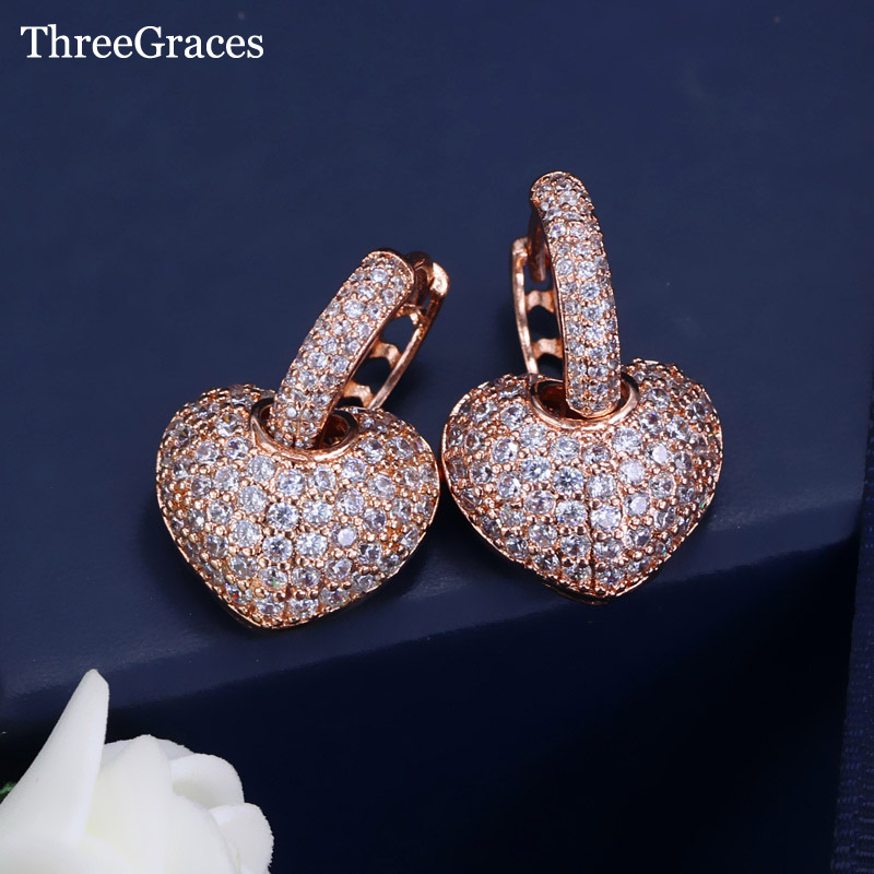 ThreeGraces Earing Fashion Jewelry Rose Gold Color Top Quality Cubic Zircon Micro Pave Heart Stud Earrings For Ladies Gift ER361