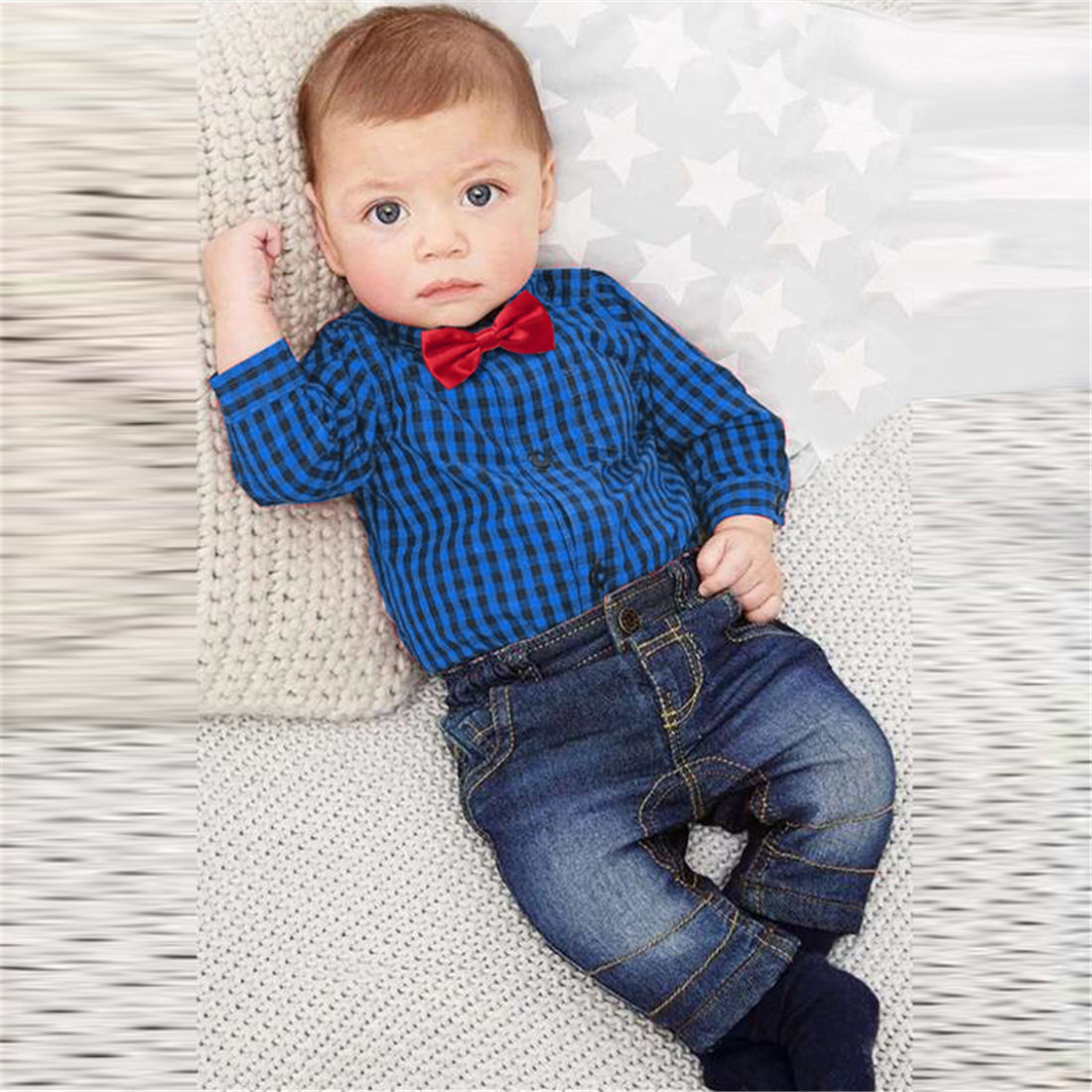 2017 High Quality Spring Plaid 2PCS Kids Baby Boy Long ...