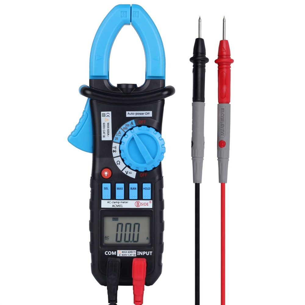 Bside ACm01 Digital Clamp Meters Auto Range Clamp Meter Ammeter Voltmeter Ohmmeter w/ LCD Backlight Current Voltage Tester bside acm01 counts auto range 600a digital electrician clamp meter multimeter ac dc voltmeter ammeter resistance meter tester