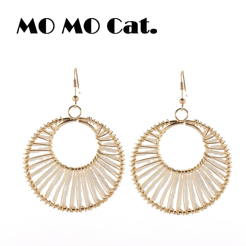 Free shipping Fashion jewelry Wholesale gift Bohemian national style pure hand beads round white beads earrings.