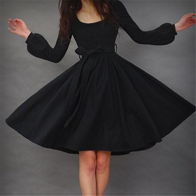 New Arrival Autumn Vintage Women Dress Solid Black A Line Full Puff