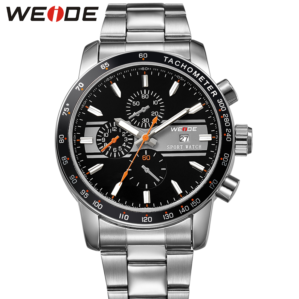 2018 Fashion WEIDE Sport Watch Men Quartz Analog Watch Steel Band Orange Dial Man Waterproof Military Wristwatch Hombre Relogios стоимость