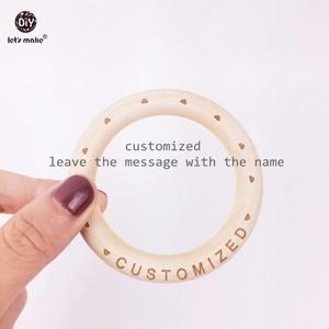 Image 4 - Lets Make Wooden Bracelet 100PCS 70mm Customized Organic Nursing Wooden Eco Friendly Baby Teething Accessories Bracelet