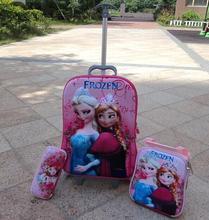 Nova Tridimensional bonito da moda mala de viagem da bagagem 16 polegadas Anna & Elsa set (almoço caixas de caixa + caneta + trole da bagagem)(China (Mainland))