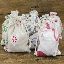 New 20 pcs 10x14cm cotton linen fabric dust bag candy/key/money/pen/socks receive home Sundry kids toy storage