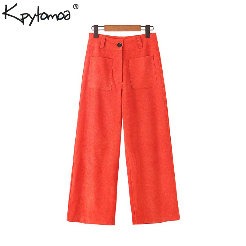 Vintage Stylish Pockets Corduroy   Wide     Leg     Pants   Women 2019 Fashion Zipper Fly Office Lady Ankle Trousers Casual Pantalones Mujer