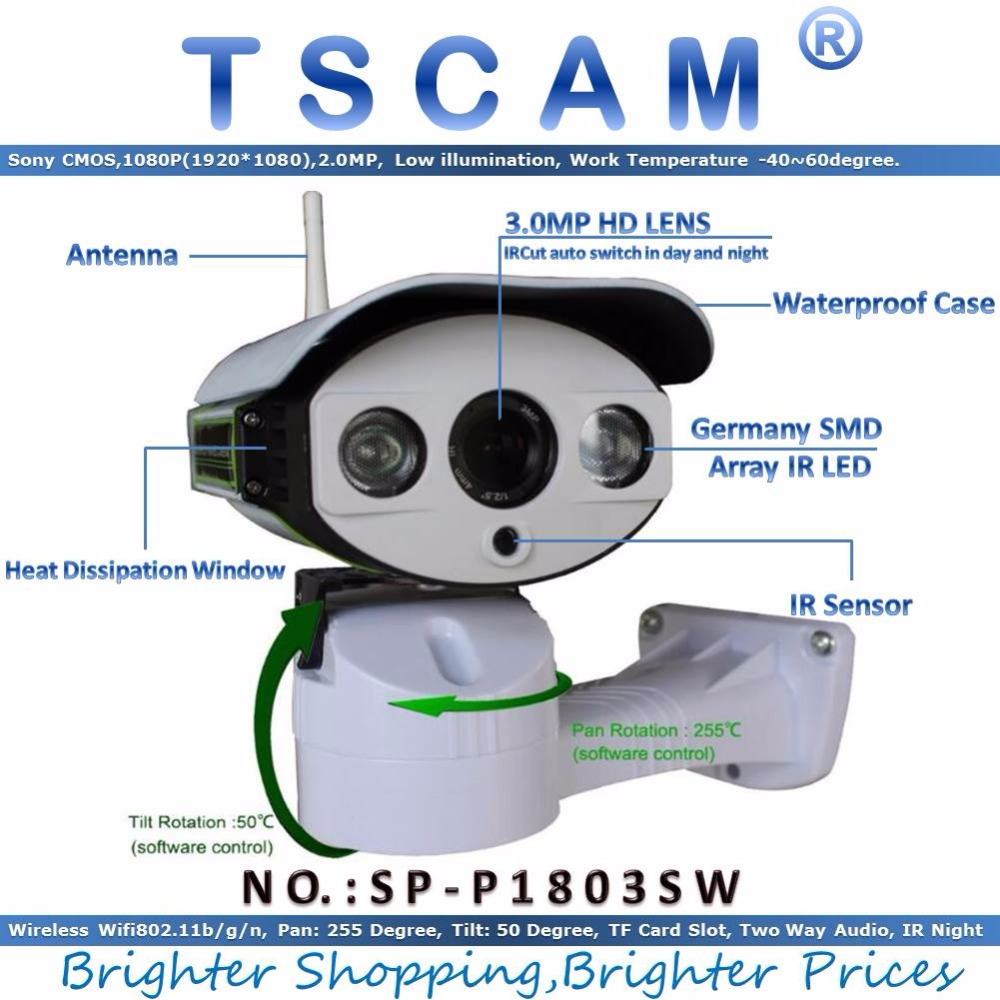 TSCAM new SP P1803SW new Full HD 1080P 1920 1080 2 0MP CCTV IP Camera Wireless