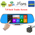 "7.0"" IPS Touch Android 4.4 OS Car DVR Mirror ROM 16GB WiFi GPS Navigation Dual Lens Full HD 1080P Parking Rearview Mirror Camera"