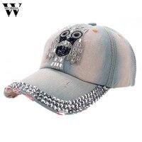 Сова узор деним Бейсбол Кепки со стразами хип-хоп Шапки для Для женщин Регулируемый snapback hat