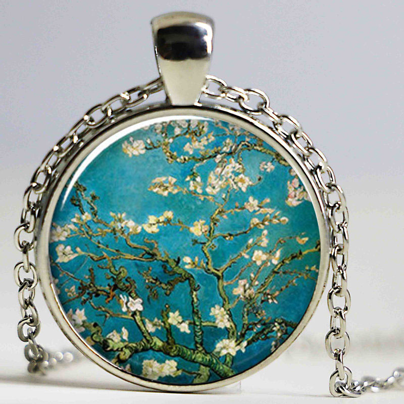 Smiling Moon Tree art pendant Mod Orange charm, Apple Summer Day tree Van Gogh Almond Branch moon necklace moon jewelry