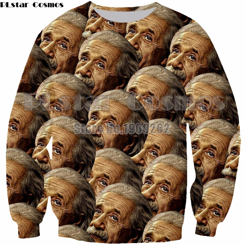 PLstar Cosmos Einstein funny character  hoodies 3D print Shirt O-Neck Short Sleeve Funny Sweatshirt