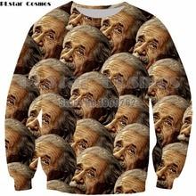 PLstar Cosmos Einstein funny character  hoodies 3D print Shirt O-Neck Short Sleeve Funny Sweatshirt