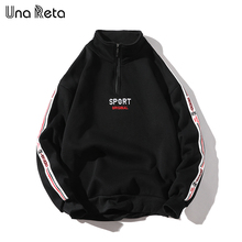 Una Reta Men Hoodies New Hip Hop Zipper Design Sweatshirt Embroidery high quality Streetwear Cotton Retro Pullover Tracksuit Men