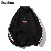 Una reta men hoodies novo hip-hop zíper design moletom bordado de alta qualidade streetwear algodão retro pulôver treino