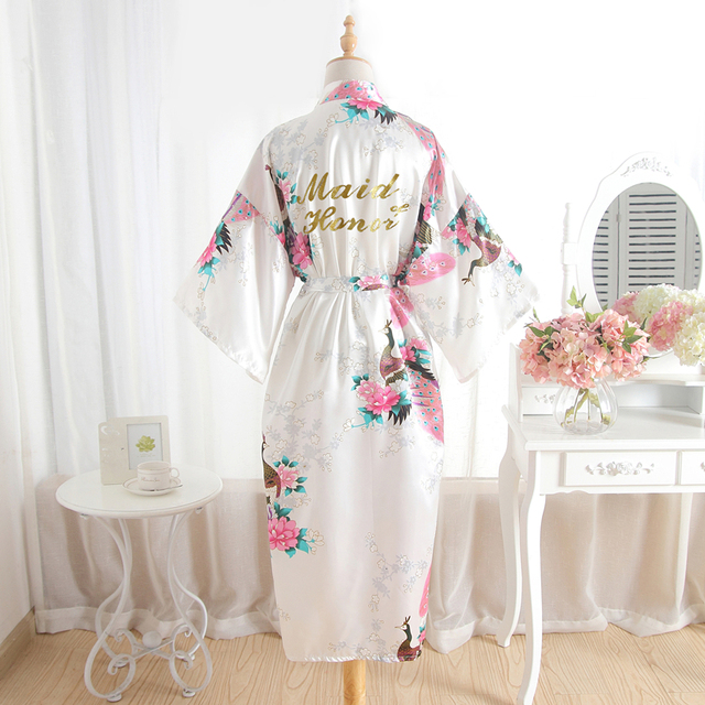 b724c3e374 Silk Maid Of Honor Bride Robe Mother Of The Bride Sexy Women Satin Wedding  Kimono Robes Sleepwear Nightgown Dress Woman Bathrobe