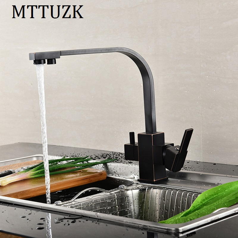 MTTUZK Black Square Kitchen Faucets 360 Degree Rotation 3 Way Water Filter Tap Water Faucets Solid
