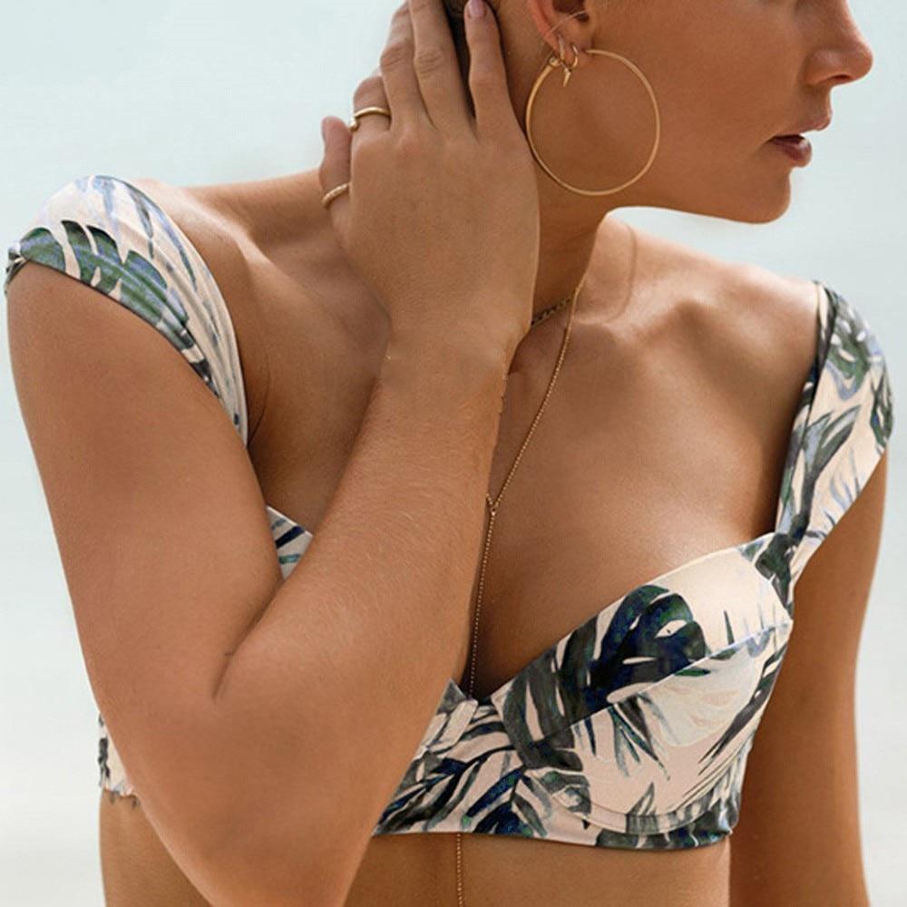 Sexy Women Bikini Fashion Split Retro Tropical Floral Palm Leaf Bikini Triangle Bathing Suit Swimsuit Swimwear Badeanzug #AX