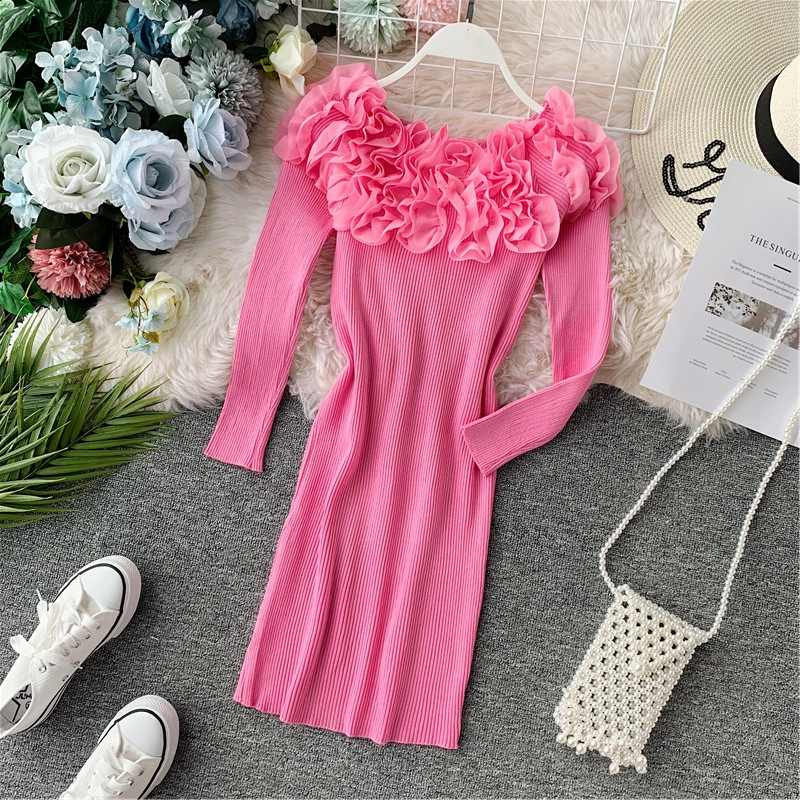 Gagarich Women Dress 2019 Autumn Long Sleeve Flowers Neck Mid-long Solid Stretch Midi Bodycon Female Dresses Robe Femme