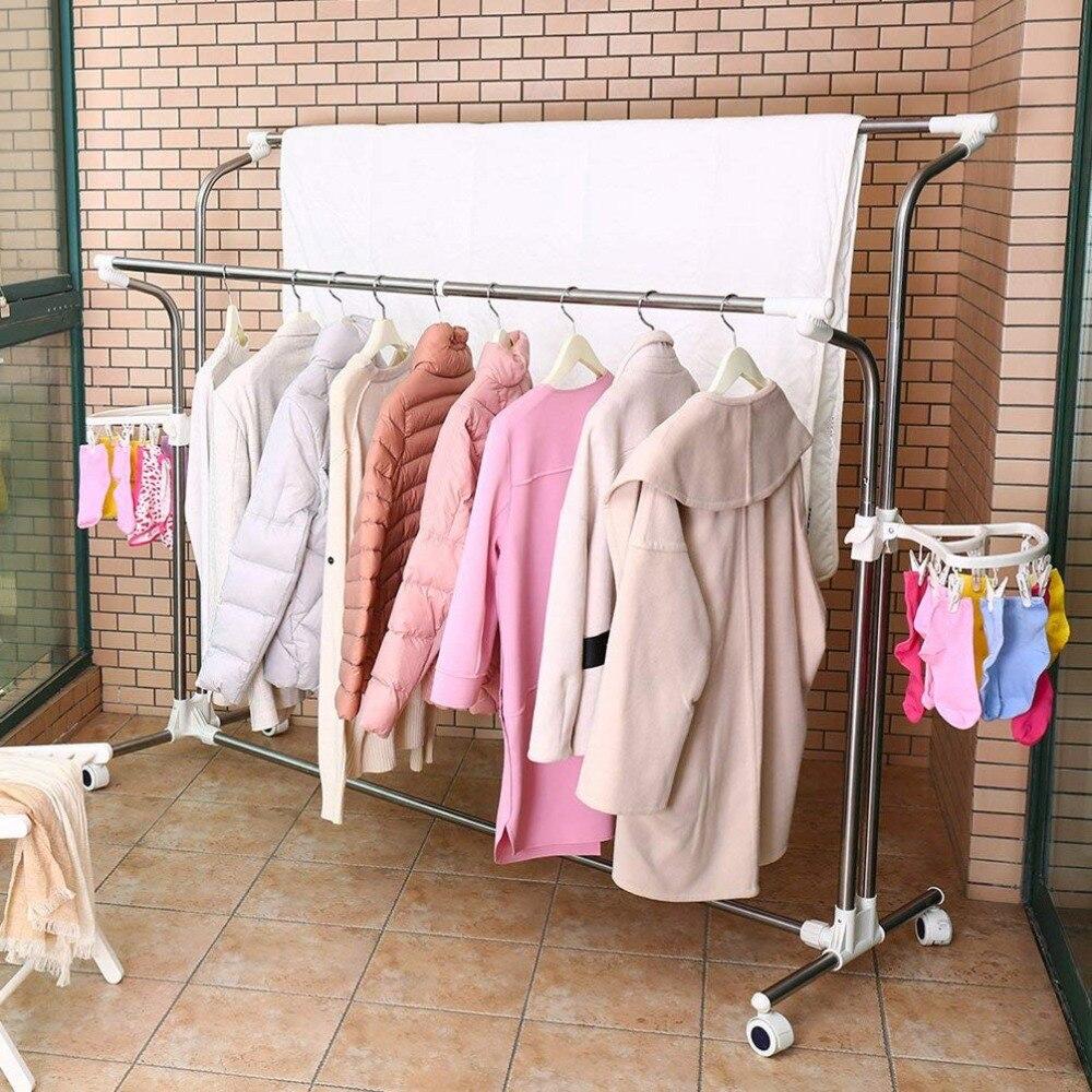 Mobile Vêtements Etendoir À Linge Porte Vêtement Extensible Rails de Roulement Réglable Vêtements Séchage Cintre avec 22 pièces Clips