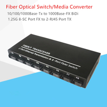Gigabit Fiber Optic Switch WDM 8-Port FX to 2-Port TX 10/100/1000Mbps SMF SX Fiber Media Converter 1310nm 20km SC Connector sunx fiber amplifier fx 311