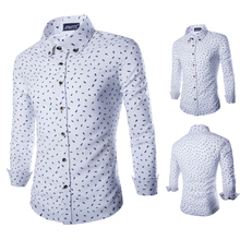 2016 New England Temperament Fish Bones Printing Men's Long-sleeved Shirt Blouse Plaid Shirt Tommis Denim Shirt Brand-clothing