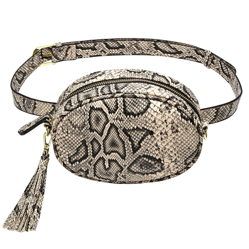Snake Skin Waist Bag Women Fashion Round Fanny Pack Ladies Pu Leather Travel Belt Bag Crossbody Hip Hop Chest Packs