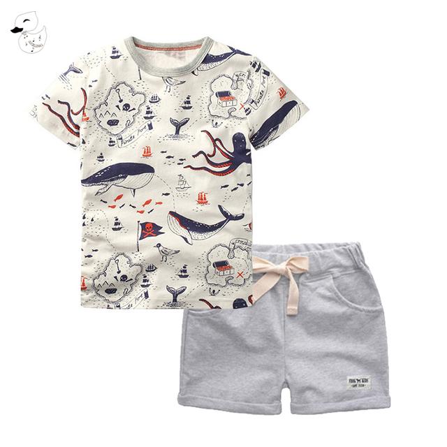 BINIDUCKLING 2PCS Children's Sets Boys O-Neck T-Shirt and Pants Shorts Summer Casual Cartoon Pullover Cotton Kids Boy Clothes