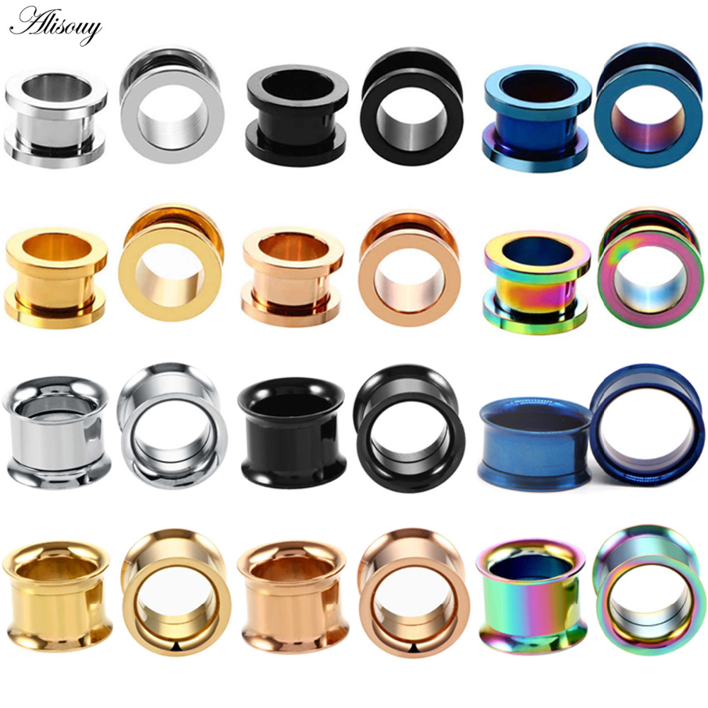 Alisouy 1PC 2-<font><b>30mm</b></font> Ohr Messgeräte 316L Edelstahl Ohr Tunnels <font><b>Plugs</b></font> Piercing Schmuck Ohr Bahren Expander stecker und Tunnel image