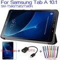 4 en 1 Plegable Flip Inteligente Cubierta de Cuero de LA PU para samsung galaxy tab 10.1 t580 t585 t580n tablet case + screen Protector + OTG + Pen