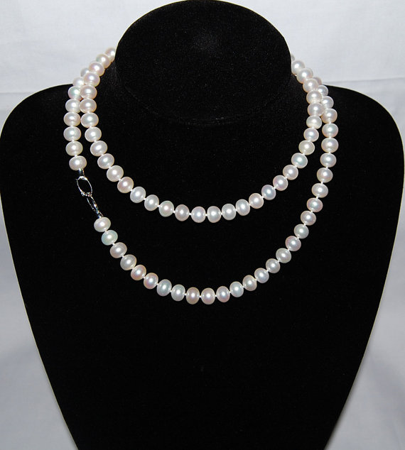 Perfect 28 inches Long Pearl Necklace,7-8mm Natural White Button Freshwater Cultured Pearl Necklace Desin,Bridal Real Pearl Gift