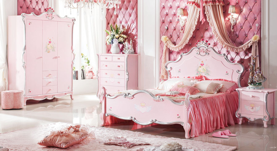 Baroque style kids bedroom set princess theme kid solid - Solid wood youth bedroom furniture ...