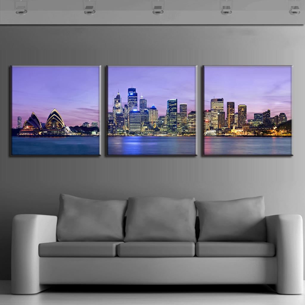 discount 3 pcs set framed purple landscape the night of sydney wall art modern city building. Black Bedroom Furniture Sets. Home Design Ideas