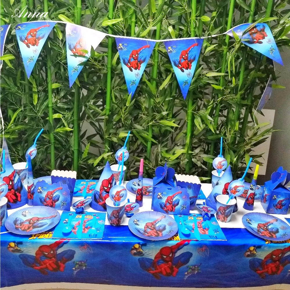 132pcs spiderman Party Supplies Plate Cup Tablecloth Knife Fork Invitation card Birthday Party Decoration Favor Party
