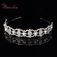 Luksusowe Kryształ Rhinestone Pearl Pałąk Srebrny Wedding Party Flower Akcesoria Do Włosów Dla Nowożeńców Tiara pasma Włosów Dziewczyny RE121