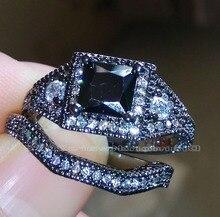 SZ 56/7/8/9/10  Fashion Jewelry Luxury Princess Cut 10kt black gold filled  AAA Cubic Zirconia Wedding  Ring set  gift choucong