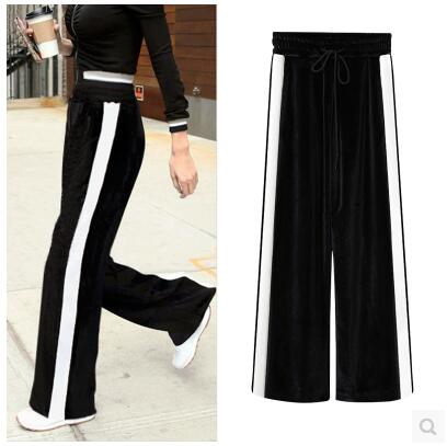 cf88d4bd299e6 New Black Wide Legged Pants White Stripe Color Block Loose High Waist  Pleuche Women s Elastic Waist