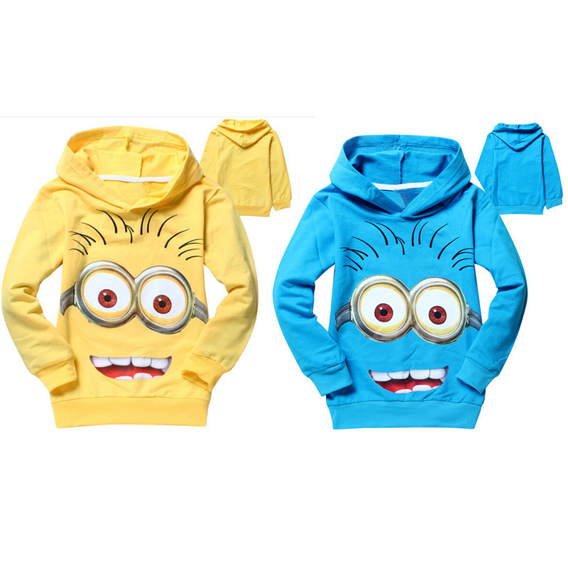 1pcs/lot 2015 despicable me 2 minion boys clothes, girls nova shirts, child Spring hoodies Tops & Tee