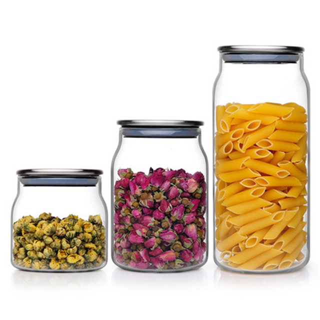 Heat Resistant Gl Jars For Storage Container Tea Coffee Sugar With Stainless Steel Lids